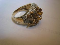 Bold Designer Sterling Silver Gold Vermeil Two Tone Flowers Ring Cocktail Domed