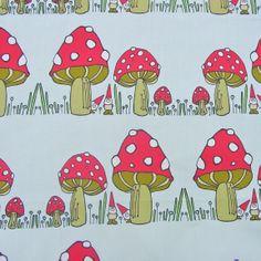 Spoonflower Cotton Poplin Fabric - Fat Quarter - Gnomes - Toadstools - Red Cap Mushrooms
