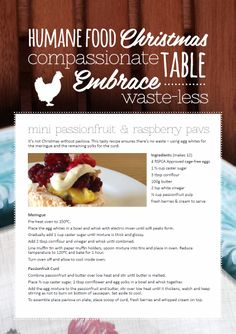 Higher welfare mini passionfruit & raspberry pavs. From our All Chefs Great & Small blog at http://www.rspca.org.au/shophumane/blog/