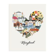 I Heart Maryland Print - 11x14