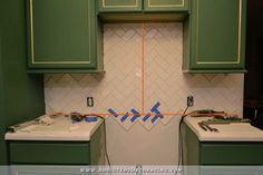 herringbone backsplash above stove | How To Install A Herringbone Subway Tile Backsplash