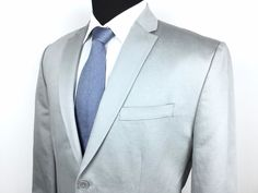 CALVIN KLEIN Men's L (42R) Silver Gray 2-Button Cotton/Linen Sport Coat/Jacket #CalvinKlein | Great Peace for Spring/Summer! | Men's Fashion & Style | Shop Menswear, Men's Clothes, Men's Apparel and Accessories at designerclothingfans.com
