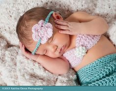 Baby mermaid photo prop Newborn 4 piece setMade by WillowsGarden, $45.00