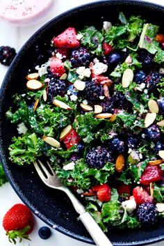 Triple Berry Kale Salad with Creamy Strawberry Poppyseed Dressing is made with delicious fresh summer berries and is tossed with kale, crunchy almonds and topped with feta cheese.  A healthy and light salad that is perfect for summer! With all of these potlucks and no bake desserts it is time for a delicious and healthy …