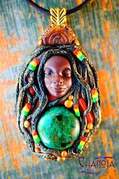 Tiny Rasta Lady Oshun Rasta Love Pendant-Goddess by ChaNoJaJewelry