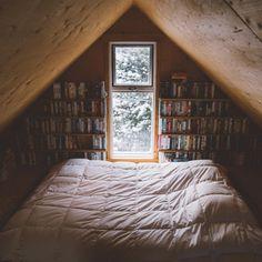 Books. Attic. Cozy Bed