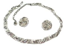 Lisner Silver Ribbon Necklace and Earrings by koolcatcollectibles