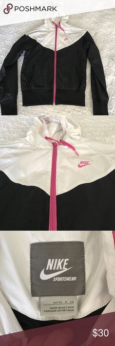 Nike Rain Jacket! Rock this stylish Nike rain jacket when the sky starts crying. In GREAT condition with no snags , discoloration or stains . Nike Jackets & Coats