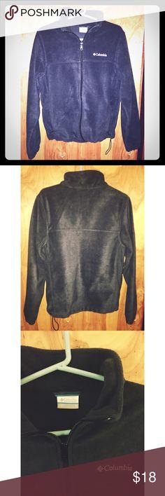Columbia (men's) size S fleece zip-up Columbia (men's) size S; dark grey zip-up fleece; pockets and drawstring to tighten waist. Columbia Jackets & Coats