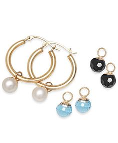 Cultured Freshwater Pearl (6mm), Onyx (6mm) and Blue Crystal (6mm) Hoop Earrings in 10k Gold
