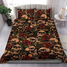 Are you looking for unique bedding sets for adults? We got you covered. All of our bedding sets have unique designs such as gothic bedding sets, skull bedding sets and more. Our bedding sets are super-soft, comfortable, and perfect for any season. Each bedding set comes with a duvet cover and 2 pillow covers. Blue Bedding Sets, Queen Bedding Sets, Gothic Bed, Bed Sheets, Pillow Inserts, Unique Bedding, Comforters, Pillow Covers, Pillows