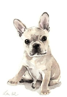 French+Bulldog+Puppy+Giclee+Print+of+Watercolor+от+LauraRowStudio