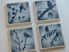 Blue Bird Decorative Tile Coasters Set Of 4 Nature Home Decor