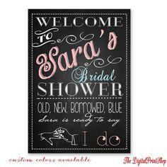 Shabby Chic Modern chalkboard style Welcome Sign, Bridal shower decor, Rustic baby bridal shower sign, shower decorations, DIY downloadable by DigitalPrintShop on Etsy