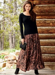 Paisleys form a swirling canvas in tones of plum, rose and black. The graceful rayon and cotton skirt, with soft pleats cascading from the contoured yoke. Maxi Skirt Outfits, Winter Skirt Outfit, Modest Outfits, Classy Outfits, Modest Fashion, Beautiful Outfits, Fall Outfits, Fashion Dresses, Long Black Skirt Outfit