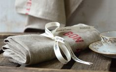 BON APPETIT French country 1 Linen Towels/ shabby chic by ikabags, $28.00