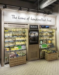 Food display shop, bar and cafe food retail, deli shop och c Display Shop, Cafe Display, Bread Display, Shop Interior Design, Cafe Design, Store Design, Sneaker Shop, Boutique Bio, Deli Shop