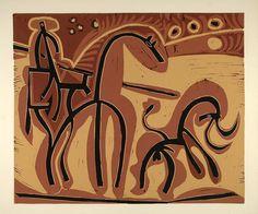 1962 Linocut Picador Lance Bull Bullfight Horse Picasso - ORIGINAL PIC1 - Period Paper