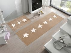 Tan Stars Floor Mat | Contemporary Floor Mat | Grey Floor Mat | Designer  Floor Mats