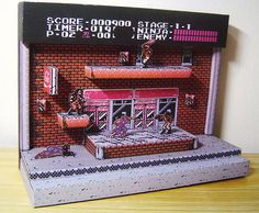 Ninja Gaiden Diorama: The Classic Game On Papercraft Video Game Rooms, Video Game Art, Animation Pixel, Pixel Art, Ninja Gaiden, 8 Bits, 8bit Art, Game Room Decor, Retro Video Games