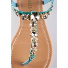 Glam Girl Jeweled Thong Sandal - Turquoise from Sa ($17.99)