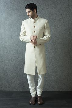 M16-111 - Jute nawabi Sherwani highlighted with contrast buttons