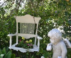 Rita Reade of Mammabellarte ..upcycled swing planting chair...Will be at the next June 1st & 2nd Vintage Marketplace