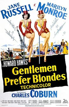 Movie poster for 1953's Gentlemen Prefer Blondes with Marilyn Monroe and Jane Russell #gentlemenpreferblondes #marilynmonroe #janerussell
