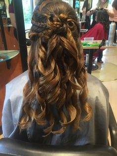 Formal half up half down hairstyle with braid and curls - Deja Vu Salon Kingsville, MD