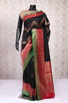 Black and antique gold multicolour banarasi silk classy saree with multicoloured border-SR10868 | new collection of banarasi sarees | #captivating #dainty #delightful #dreamy #eyecatching #fabulous #goddess