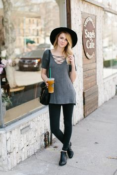 Long Cross Neck Blouse- Charcoal  | |  THE ROSE NEST