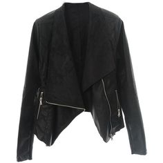 Choies Black Wide Lapel Zip Biker Jacket (€50) ❤ liked on Polyvore featuring outerwear, jackets, choies, black, biker, biker jacket, rider jacket, motorcycle jacket, motorcycle biker jacket and moto zip jacket