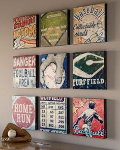 Sports Art Home Run Art by Aaron by EmbellishmentsStudio on Etsy