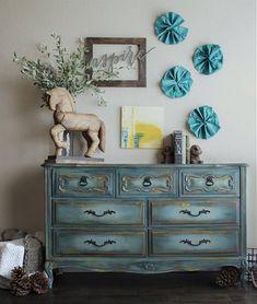 blue dresser -painted blue dresser - french provincial #paintedfurniture #affiliate