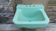 Farm Fresh Bathroom Porcelain Sink Vintage Retro  Green Wall Mount