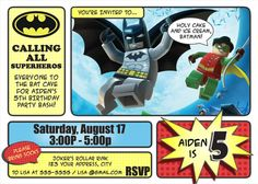 Batman Invitations - Lego Batman And Robin Invitation - Batman Pop Art - Superhero Invitation - DIY Printable Invitation
