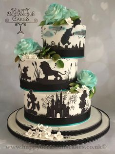 Silhouette Wedding cake by Paul of Happy Occasions Cakes. - http://cakesdecor.com/cakes/304648-silhouette-wedding-cake
