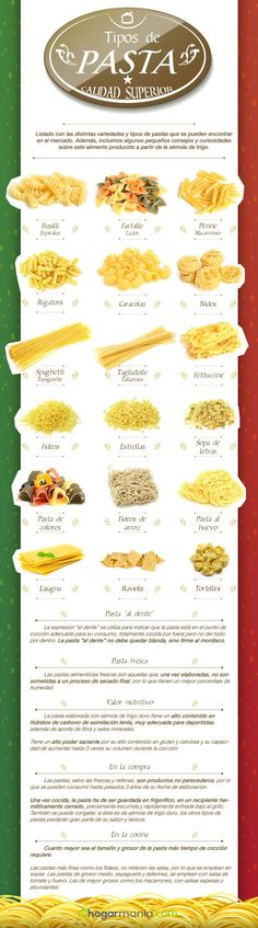 56 Ideas For Pasta Italianas Tipos De Cooking 101, Cooking Recipes, Healthy Recipes, Fusilli, Food Charts, Diy Food, No Cook Meals, Pasta Dishes, Pasta Recipes