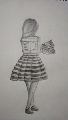 Bff Drawings, Cute Easy Drawings, Pretty Drawings, Bts Billboard, Simple Girl, Body Drawing, Sad Anime, Quotation, Amazing Art