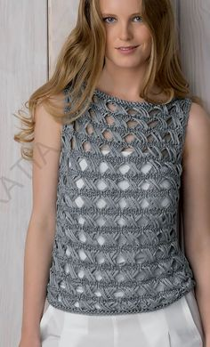 Free knitting pattern for cross over stitch top sleeveless openwork pullover knit with a 4 row repeat version of the indian cross stitch knit in 2 identical pieces and seamed finished bust 36 25 40 125 43 25 47 designed by fil katia bulky weight origin Baby Knitting Patterns, Lace Knitting, Knitting Stitches, Knitting Designs, Crochet Patterns, Hairpin Lace Crochet, Knit Crochet, Ribbon Yarn, Crochet Woman