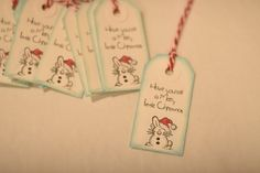 10 Christmas Bunny Gift Tags by Hope2Create on Etsy