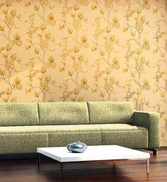 Carta da parati floreale di lusso con rilievo tessuto non tessuto EDEM 950-21 in giallo sabbia oro-marrone 10,65 mq