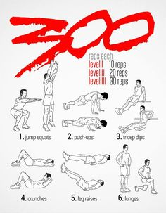 1 - 300 Workout this will be ambitious! 1 - 300 Workout this will be ambitious! 300 Workout, Spartan Workout, Gym Workout Tips, Ab Workout At Home, At Home Workouts, Workout Shirts, Easy Daily Workouts, Warrior Workout, Workout Schedule