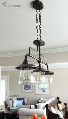 light above kitchen table: allen + roth Bristow 36-in W 3-Light Mission Bronze Kitchen Island Light with Clear Shade