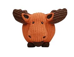 HuggleHounds Extremely Durable and Squeaky Ruff-Tex Moose Knottie, Large, Orange >>> Click image for more details.