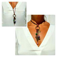 Bohemian Necklace, Boho Necklace, Adjustable Necklace, Leather Necklace, Gems Necklace, natural stone jewelry,Hamsa Hand Necklace,Boho chic de EndiaDesign en Etsy