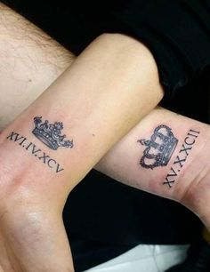 Really really want a matching tattoo with my man! Matching Crown Tattoo by Ali Baba Couple Wrist Tattoos, Cute Couple Tattoos, Wrist Tattoos For Men, Crown Couple Tattoo, Crown Tattoo Men, Diy Tattoo, Get A Tattoo, Tattoo Ideas, Tattoo Man