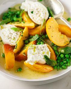 Peach, Pea & Burrata Salad Large Salad Bowl, Salad Bowls, Burrata Salad, Peach Slices, Sugar Snap Peas, Bbq Ideas, Salad Ideas, Fresh Mint, Summer Ideas