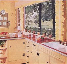 1955 Kitchen by Pittsburgh Glass by American Vintage Home, via interior design decorating 1950s Interior, Vintage Interior Design, Vintage Interiors, Interior Colors, Retro Design, Design Design, Vintage Room, Vintage Kitchen, Vintage Art