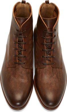 Alexander McQueen: Coffee & Tan Tumbled Leather Lace-Up Boots | SSENSE